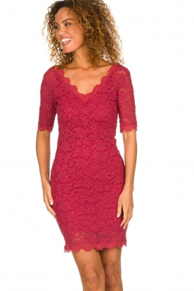 Rosemunde |  Lace dress Louize | raspberry red