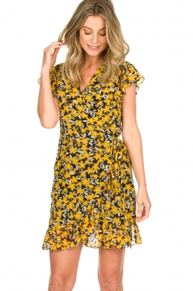 Freebird |  Floral wrap dress with ruffles Rosy Flower | yellow