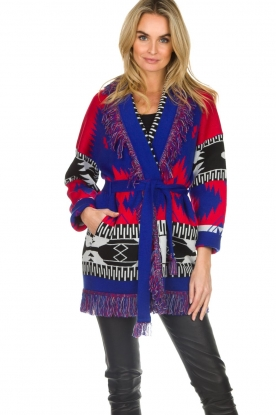 Les Galeries Neuf |  Cardigan with aztec print Nora | blue