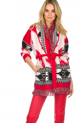 Les Galeries Neuf |  Cardigan with aztec print Nora | red