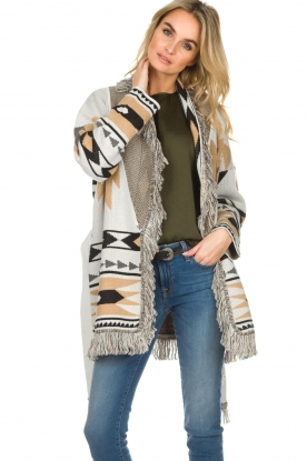Les Galeries Neuf |  Cardigan with aztec print Nora | natural
