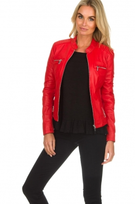 Arma |  Leather biker jacket Tuya | red