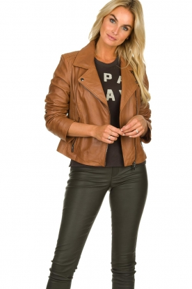 Arma |  Studio Ar leather biker jacket Gomera | camel