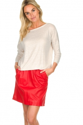 Arma |  Studio Ar leather skirt Mirte | red