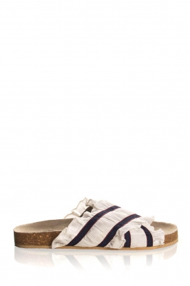 Becksöndergaard |  Striped sandals with ruffles Mikka | white