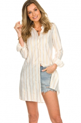 Les Favorites |  Lurex striped blouse dress Fiep | white
