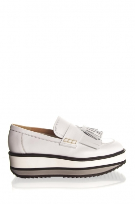 Janet & Janet |  Leather platform loafers Cleo | white