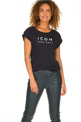 Dante 6 |  Cotton T-shirt with text print Icon | black