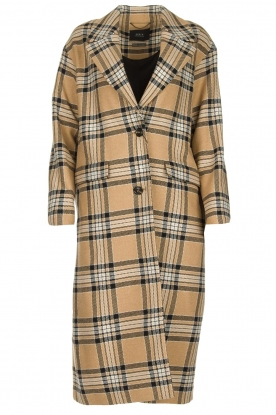 Set |  Long checkered coat Myrna | camel