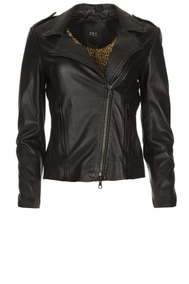 Set |  Leather biker jacket Marthe | black