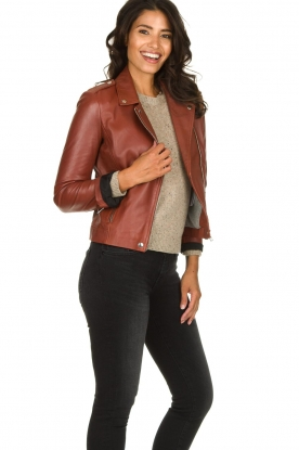 Set |  Leather biker jacket Mey | brown