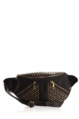 Depeche |  Leather fanny pack with studs Swae | black