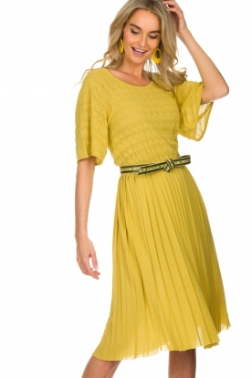 ELISABETTA FRANCHI |  Dress with waistbelt Amie | yellow
