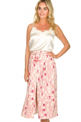 ELISABETTA FRANCHI |  Skirt with letterdesign Peonia | pink
