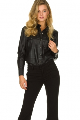 Set |  Leather blouse Marcella | black