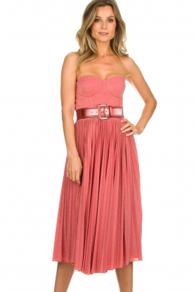 ELISABETTA FRANCHI |  Wired strapless lurex dress Phileine | pink