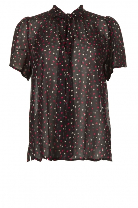 Set |  Blouse with hearts print Mylena | black