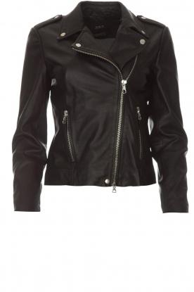Set |  Leather biker jacket Tyler | black