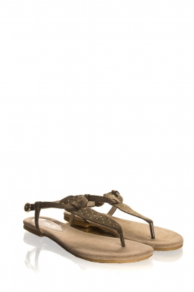Maluo |Leather sandals Gisella | green