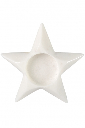 Little Soho Living |Marmeren waxinelichthouder Dove Star | wit