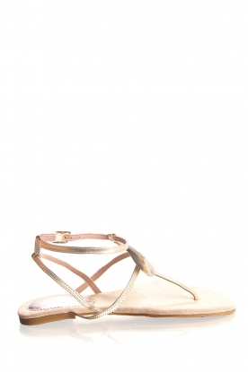 Maluo | Leather sandals Rosetta | gold