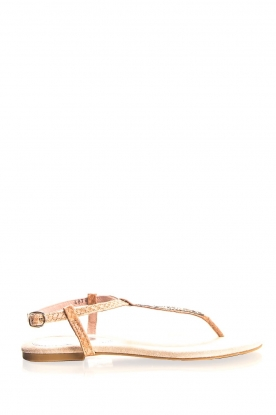 Maluo |  Sandals with glitters Python Print | nude