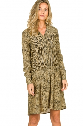 Les Favorites | Dress with animal print Annika | brown