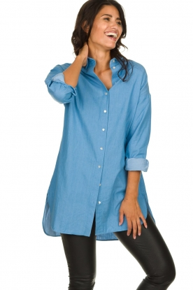 Les Favorites |  Cotton tunic blouse Ineke | blue