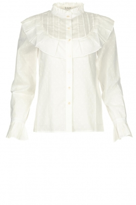 Les Favorites |  Dotted blouse with ruffles Gerrie | white