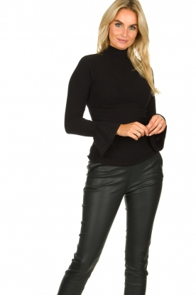 Les Favorites |  Turtleneck sweater with trumpet sleeves Nicole | black