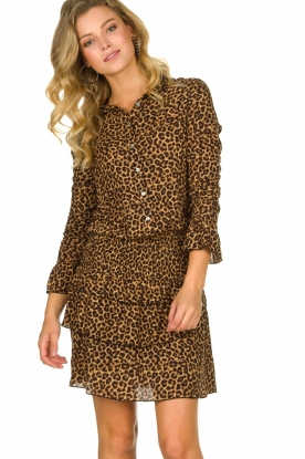 Les Favorites |  Leopard print dress with ruffle skirt Helene | animal print