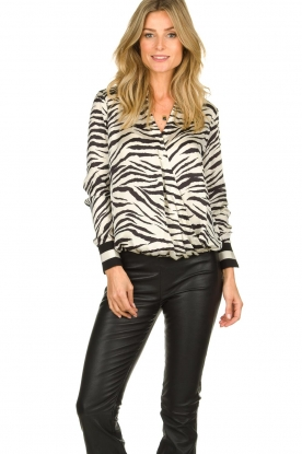 Kocca |  Zebraprint blouse Parsyf | black & white