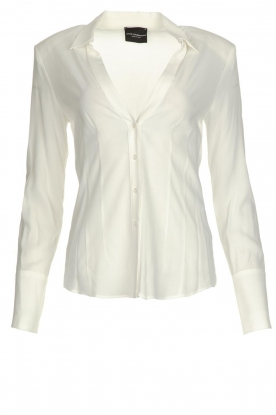 Atos Lombardini |  Blouse with V-neck Lucia | white
