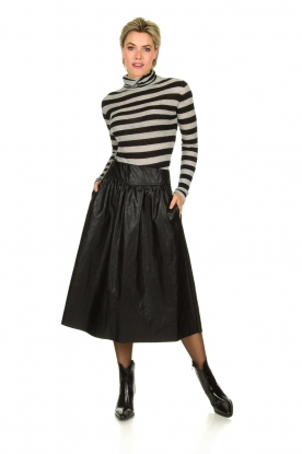 Atos Lombardini |  Faux leather skirt Anita | black
