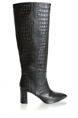 Janet & Janet | Leather boots with croco print Miranda | green
