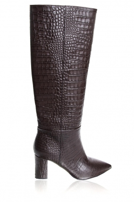 Janet & Janet | Leather boots with crocodile pattern Miranda | brown