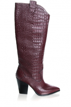 Janet & Janet | Leather boots with crocodile pattern Miranda | burgundy