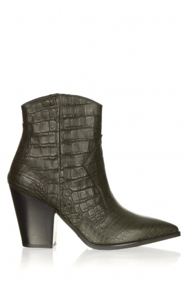 Janet & Janet |  Short leather boots with crocodile pattern Miranda | green