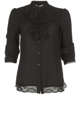 Silvian Heach | Blouse with lace and ruffles Taleb | black