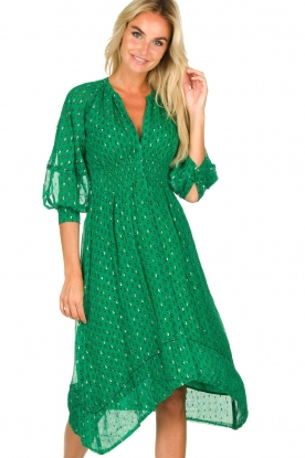 ba&sh |  Asymmetric print dress Cynana | green