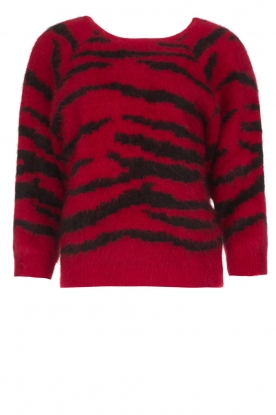 ba&sh |  Zebra print sweater with twisted back | red