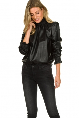 ba&sh | Leather top Mylo | black