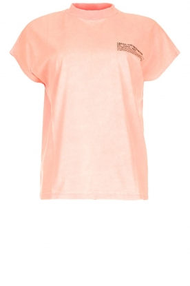 Essentiel Antwerp |  Neon T-shirt with text print This | orange