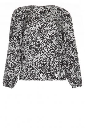 Essentiel Antwerp |  Blouse with print Tartmony | black & white