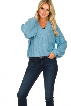 Essentiel Antwerp |  V-neck sweater Twin | blue