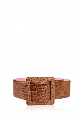 Essentiel Antwerp |  Snake print  waist belt | camel