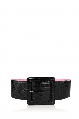 Essentiel Antwerp |  Snake print waist belt Trocrococ | black