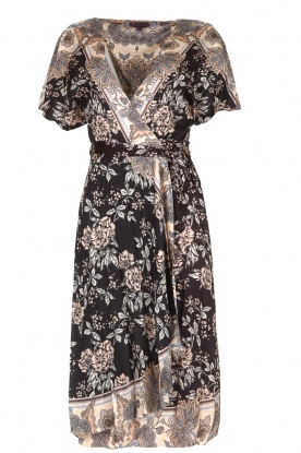 Hale Bob |  Floral wrap dress Asta | black