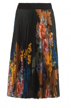 Hale Bob |  Floral plisse midi skirt Swanhild | black