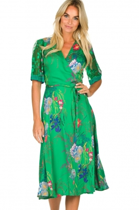 Hale Bob |  Floral wrap dress Velda | groen